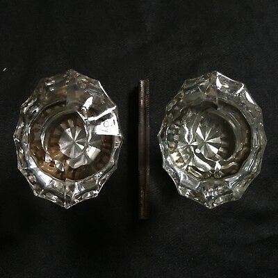 Nice Pair Of Antique 12 Sides Oval Flutted Glass Door Knobs  Brass  Base