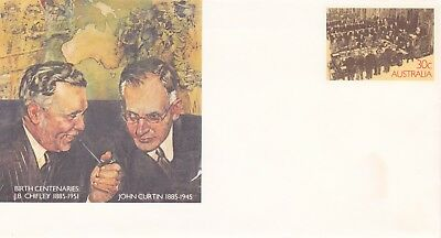 1985 Pre-stamped envelope 086.  John Curtin and J. B. Chifley.  Mint