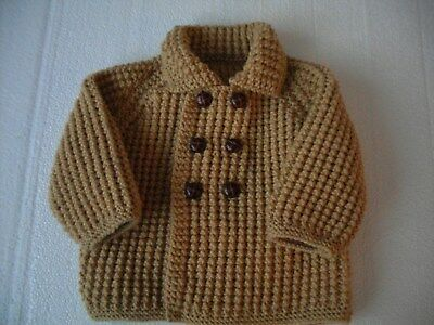 Hand Knitted Baby Boys Cardigan Camel Coat 9 - 12 Months NEW