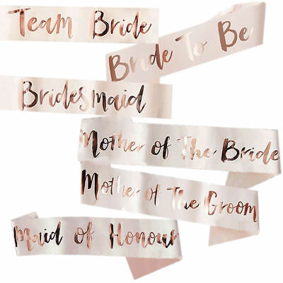 New! Rose Gold Bride To Be Sashes Girls Night Hen Night Out Party Sash Wedding