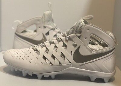 NIKE HUARACHE V 5 LAX FOOTBALL LACROSSE CLEATS White/Silver 807142-100 Sz 14