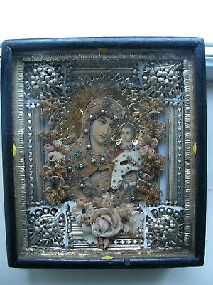 "Antique 19c Russian Orthodox Print on Paper Wood Icon "" The Virgin of Tikhvin"""