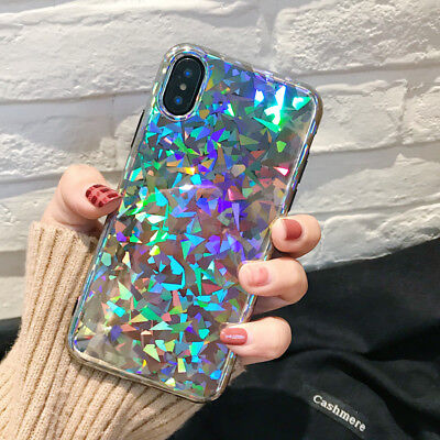 For iPhone X 7 8 Plus Bling Glitter Sparkle Reflective Case Cute Phone Cover