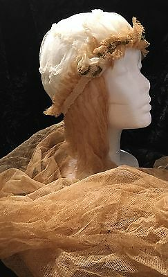 "Atq 1915 Wedding Juliette Tulle Cap 38"" Long Veil Ivory Gold w/ Daisies-Estate"