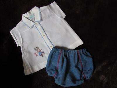 Vintage *Tiny Tots*Diaper shirt w/ handmade denim diaper cover~0-3M baby ~Cute!