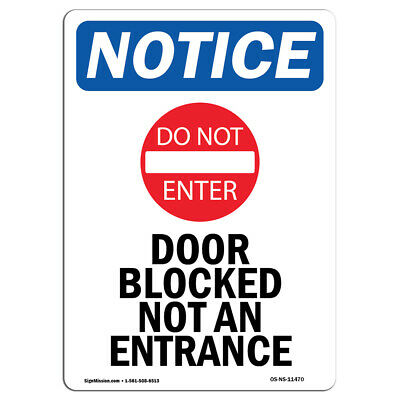 OSHA Notice - Door Blocked Not An Entrance Sign With Symbol | Heavy Duty  sc 1 st  PicClick & ENTRANCE DOOR SYMBOL Sign Adhesive Sticker Brushed Aluminum 2 x 8 ...