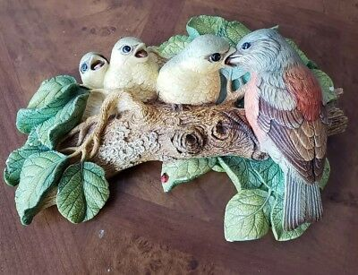"Vtg 8"" Bossons Bird wall sculpture Mother feeding babies"