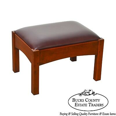 Stickley Mission Collection Cherry & Leather Gustav Footstool 91-2591