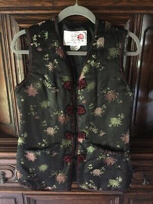 VTG 80s 90s Peony Chinese Silk brocade vest Womens Floral Print Black Asian