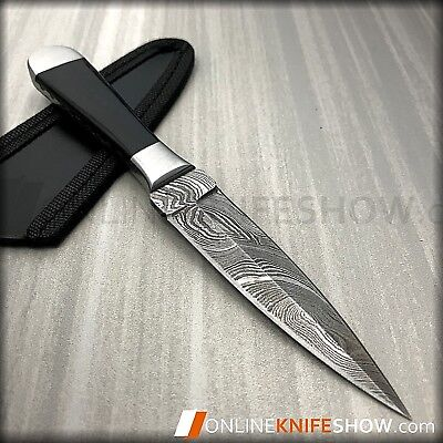 "6.5"" Damascus Full Tang Double Edge Bosom Dagger Fixed Blade Hunting Knife New"