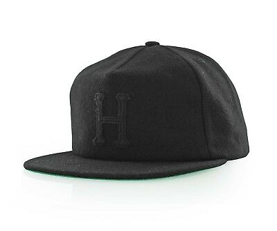 Huf WOOL CLASSIC H STRAPBACK Black Patch Logo Adjustable Leather Strap Men s  Hat 76a11a170138