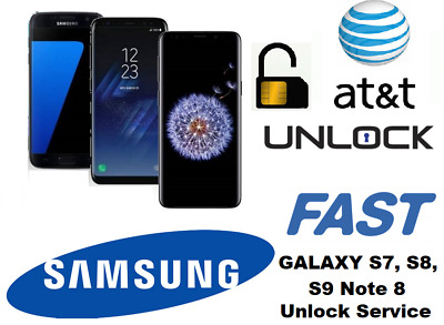 Instant AT&T SAMSUNG GALAXY S7 Edge S8 S8+ S9 S9+ Note 8 Unlock Remote Service