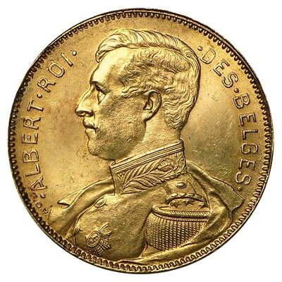 1914 Belgium Gold 20 Francs Albert I Avg Circ AGW .1867 oz
