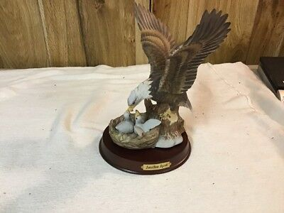 American Bald Eagle With Two Eaglets In Nest Porcelain Statue Figurine