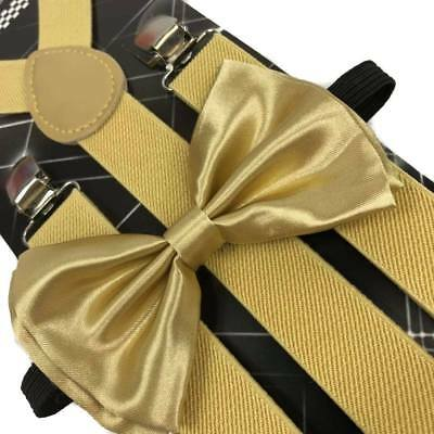 Champagne Gold Suspender and Bow Tie Set Adults Wedding Formal Men Women (USA)