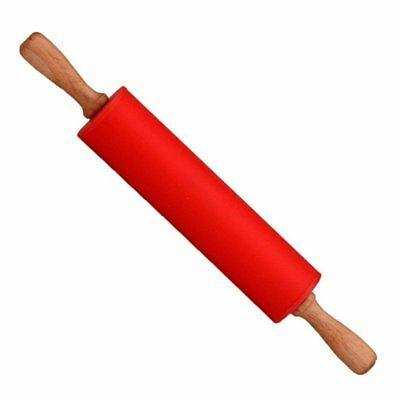 non stick wooden silicone rolling pin silicone for kitchen and baking (red) Y3J1