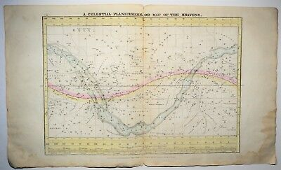 1835 Antique Celestial Planisphere Map of the Heavens - Solar System Print