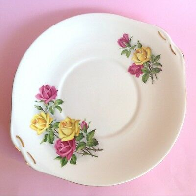 ROMANTIC QUEEN ANNE VINTAGE 1950s ENGLISH BONE CHINA ROSES HIGH TEA CAKE PLATE