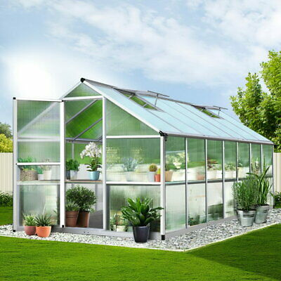 422x250cm Walk In Greenhouse Polycarbonate Green Hot House Plant Shed Storage