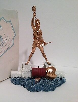 """Colossus of Rhodes Lighthouse 9-10"""" Statue Sculpture Figurine with Gold Paint"""