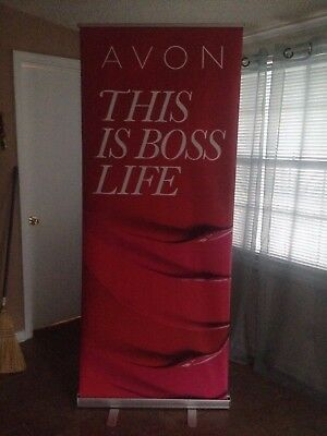Avon This Is Boss Life Retractable Roll Up Banner w/Stand and Carrying Case