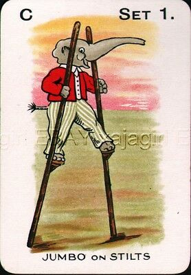 Elephant on Stilts Circus Antique Victorian Swap Playing Card