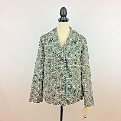 GRACE TAYLOR womens size 22.5 vtg jacket - brown teal print polyester 1950s plus