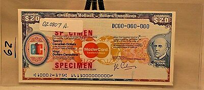 $20 Canadian Travelers Cheque Specimen Thomas Cook