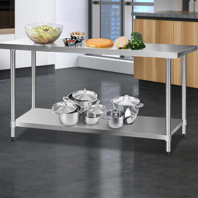 Stainless Steel Bench Table Commercial Kitchen Work Food Grade Shelf 1829x610mm