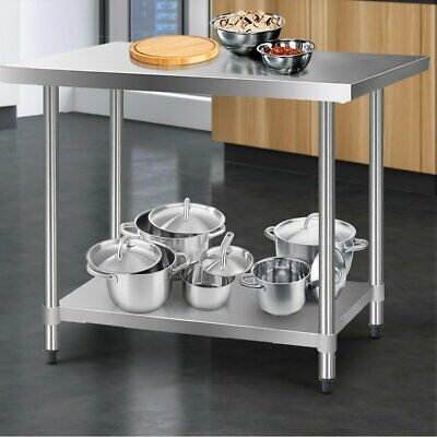 Kitchen Bench Food Grade Table Stainless Steel Adjustable Shelves 610 x 1219mm