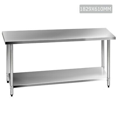 Commercial Stainless Steel Kitchen Bench Home Food Table Fully Welded 610x1829mm