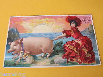 Lady pulling Good Luck PIgs Tail Attractive Greeting Postcard Postally used SA