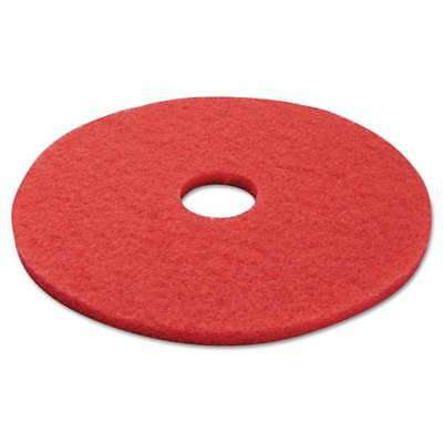"Boardwalk® Standard Buffing Floor Pads, 17"" Diameter, Red, 5/Cart 749507985938"