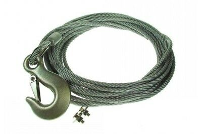 8M STEEL ROPE WINCH STRAP 6mm FORGED HOOK & FIXING KIT MAYPOLE MP1450