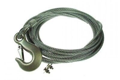 Winch Strap Steel Rope 6Mm Forged Hook & Fixing Kit 8M Maypole Mp1450