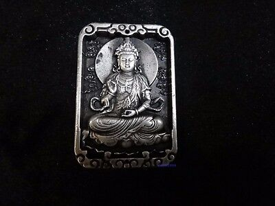 Chinese Boutique silver copper carve Goddess of mercyBoddhisattva Pendant Amulet