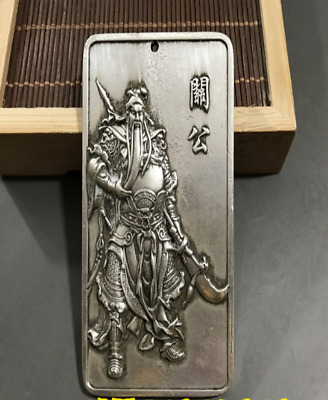 Chinese Boutique white copper carving guangong Boddhisattva Pendant Amulet