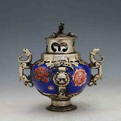 Chinese Antique Porcelain Inlaid Tibetan Silver&Monkey Lid Incense Burner