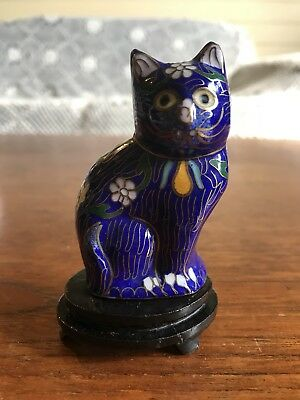Vintage Chinese Cloisonne Copper Cat Animal Statue Sculpture With Stand
