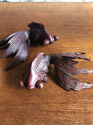 Two Carved Fish Vintage Fantail Goldfish Wood Carvings Ornaments Asian