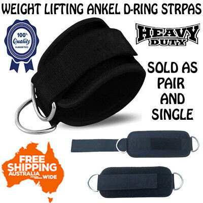 GLADIATOR Weight Lifting Ankle D-Ring pair Pulley Cable Attachment Gym Leg Strap