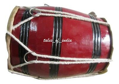 Punjabi Dhol~ Junior Dholki~Bhangra~Natural Wood~Baby Dhol