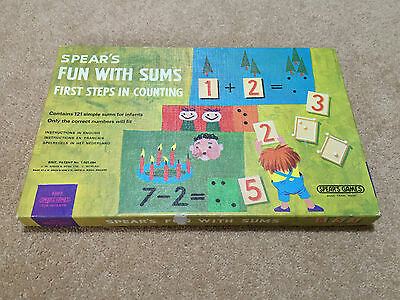 Rare Vintage 1971 Spear's Fun wtih Sums children educational board game