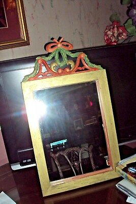 Hand Carved  Mirror In Wood From Germany  Red, Green And  Gold Solid Oak