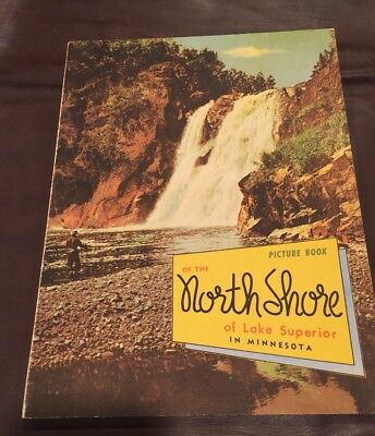 VINTAGE 1947 LAKE SUPERIOR NORTH SHORE MINNESOTA PICTURE BOOK w/ 48 PAGES & MAP