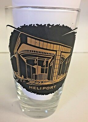 Vintage 1964 - 1965 New York's World Fair Heliport Drinking Milk Glass Trip WOW