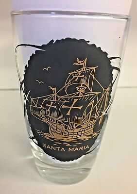 Vintage 1964 - 1965 New York's World Fair Santa Maria Ship Drinking Milk Glass