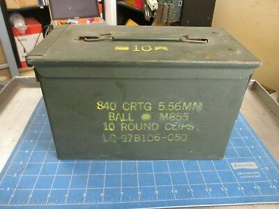 Ammo Can US Army Military M2A1 50 Cal Ammunition Metal Storage 5.56MM Good NICE