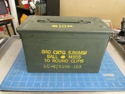 Ammo Can US Army Military M2A1 50 Cal Ammunition Metal Storage 5.56MM MINT NICE
