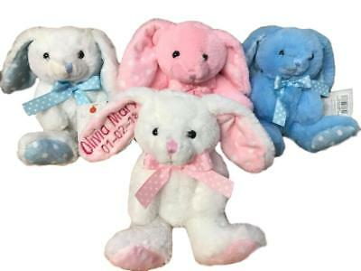 Personalised Rabbit - Bunny Teddy Bear Pink or Blue Baby Shower Christening